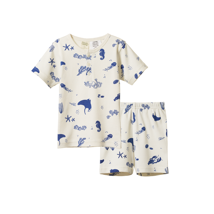 NATURE BABY 2PC SHORT SLEEVE COTTON PYJAMAS  - SEA LIFE PRINTY