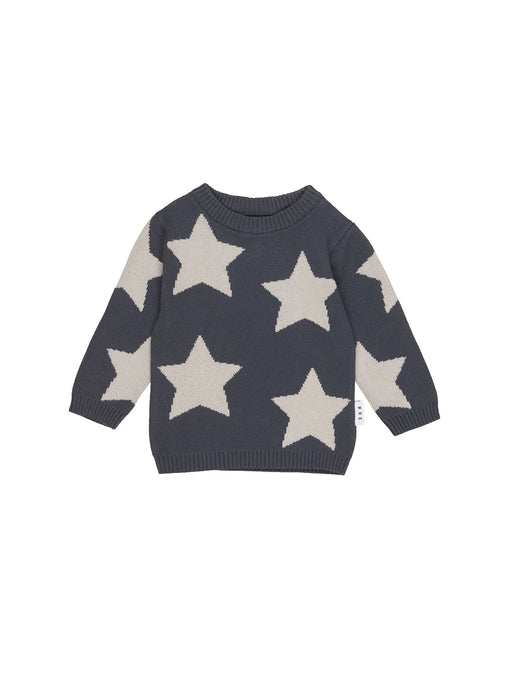 HUXBABY STAR KNIT JUMPER INK