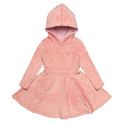 ROCK YOUR KID LONG SLEEVE HOODED WAISTED DRESS PINK