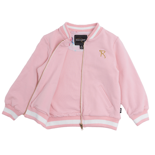 ROCK YOUR BABY CHASING RAINBOWS BOMBER JACKET MID PINK/CREAM