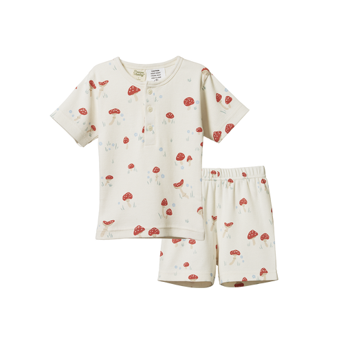 NATURE BABY 2PC RIB PYJAMAS MUSHROOM VALLEY SLEEP PRINT
