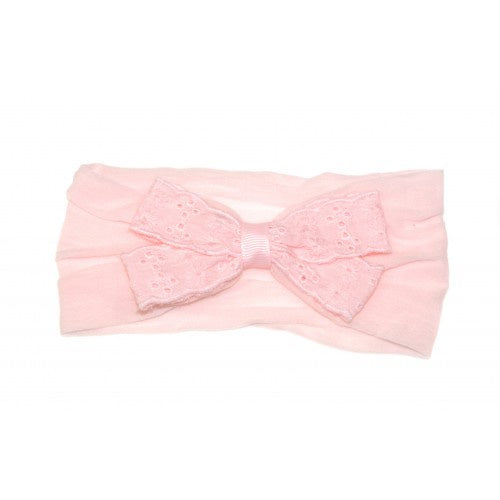 GOODY GUMDROPS BABY BRODERIE BOW HEADBAND - PINK