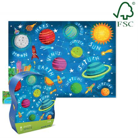 CROCODILE CREEK JR SHAPED BOX PUZZLE SPACE 72pc