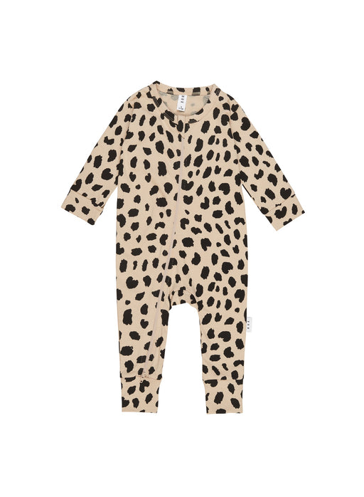 HUXBABY ANIMAL SPOT ZIP ROMPER SAND