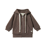 NATURE BABY HOODED TOP - TRUFFLE MARL