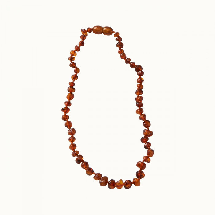 NATURE BABY AMBER TEETHING NECKLACE - COGNAC