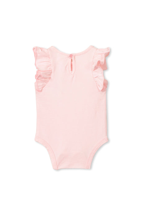 MILKY BABY FLUTTER SLEEVE BUBBYSUIT PASTEL PINK