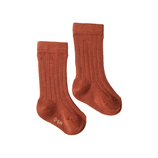 NATURE BABY ORGANIC COTTON RIB SOCKS CLAY