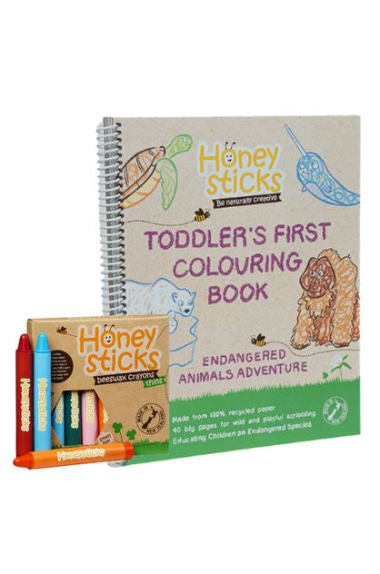 HONEYSTICKS TODDLERS FIRST COLOURING BOOK - ENDANGERED ANIMALS