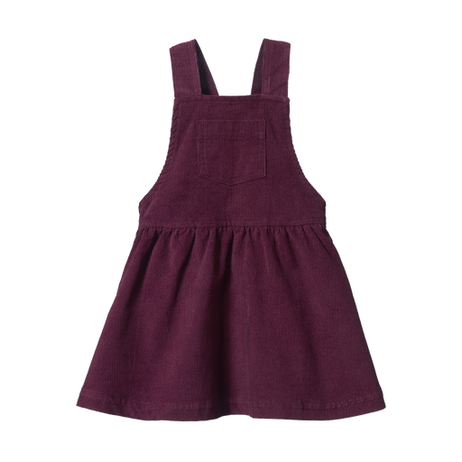 NATURE BABY PINAFORE CORD DRESS - ELDERBERRY