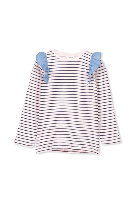 MILKY STRIPE FRILL TEE PALE ROSE NAVY