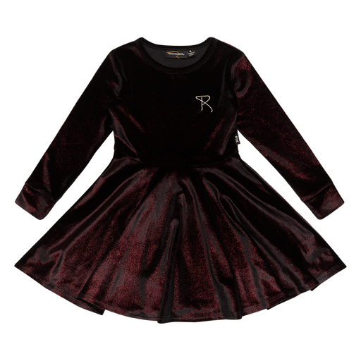 ROCK YOUR KID LONG SLEEVE WAISTED DRESS RED VELVET
