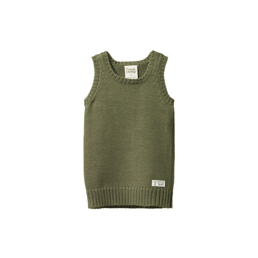 NATURE BABY MERINO KNIT VEST CYPRESS