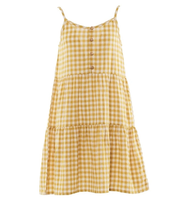 EVES SISTER CHECK DRESS MUSTARD WHITE CHECK
