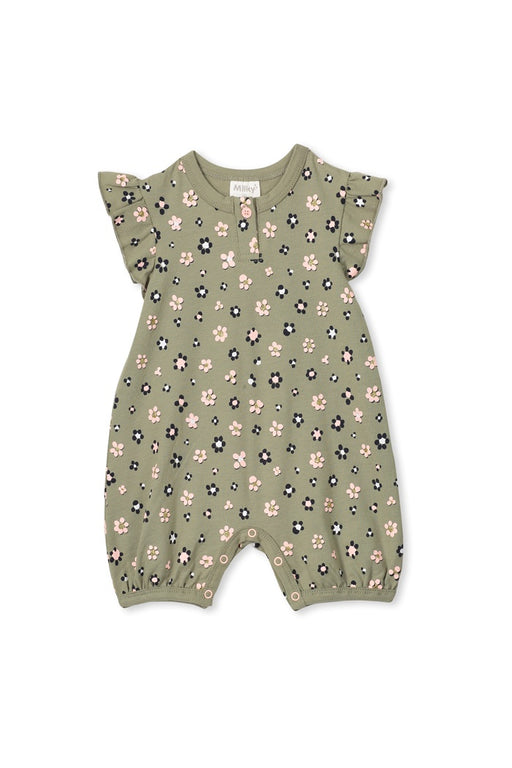 MILKY BABY DAISY FLORAL ROMPER TEA GREEN