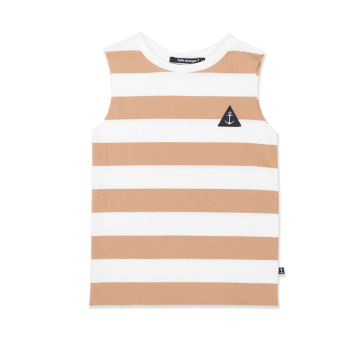 HELLO STRANGER MUSCLE TEE BROWN STRIPE