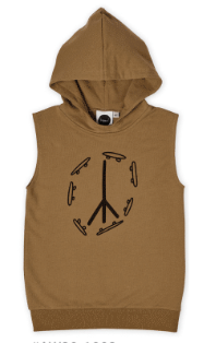 KAPOW KIDS SKATE & PEACE PLACEMENT HOODED VEST TAN