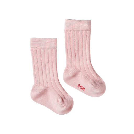 NATURE BABY ORGANIC COTTON RIB SOCKS ROSE BUD