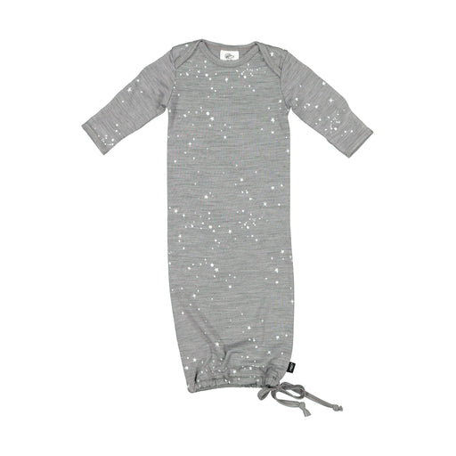LFOH NEWCOMER BABY GOWN GREY MARLE STARS