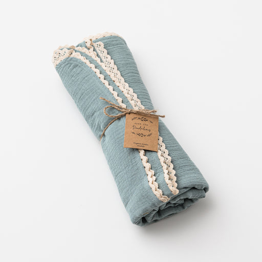 OVER THE DANDELIONS ORGANIC MUSLIN SWADDLE WITH LACE TRIM - SAGE