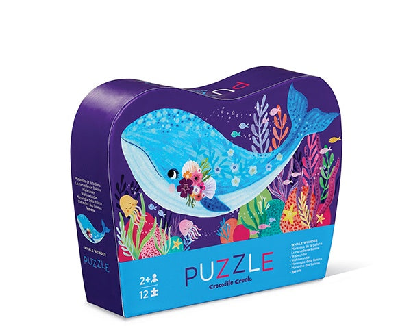 CROCODILE CREEK MINI PUZZLE WHALE WONDER 12 PC