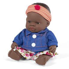 MINILAND AFRICAN BABY GIRL DOLL + OUTFIT - 21CMS