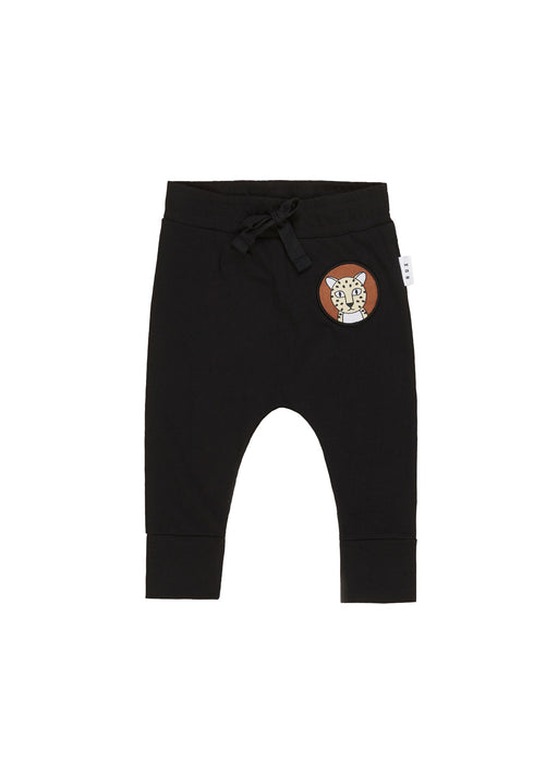 HUXBABY PATCH DROP CROTCH PANT BLACK