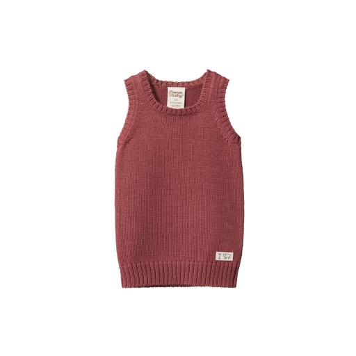 NATURE BABY MERINO KNIT VEST WOODLAND ROSE