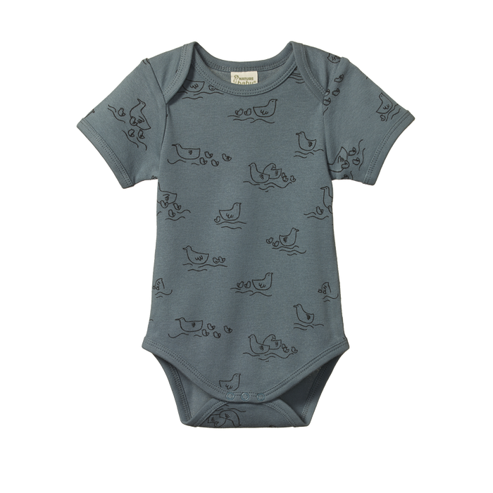 NATURE BABY SHORT SLEEVED BODYSUIT BLUE POND PRINT