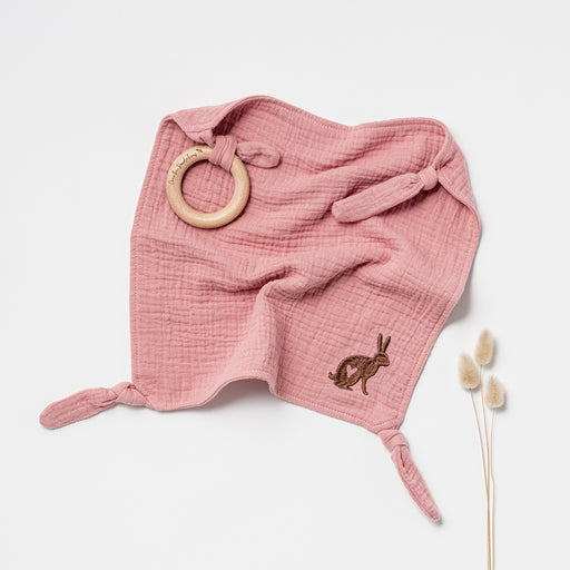 OVER THE DANDELIONS EMBROIDERED ORGANIC MUSLIN LOVEY WITH WOODEN TEETHER - SHELL PINK