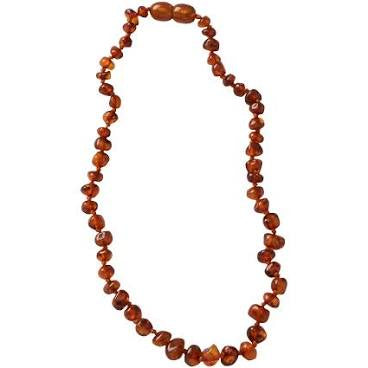 NATURE BABY AMBER TEETHING BEAD NECKLACE COGNAC