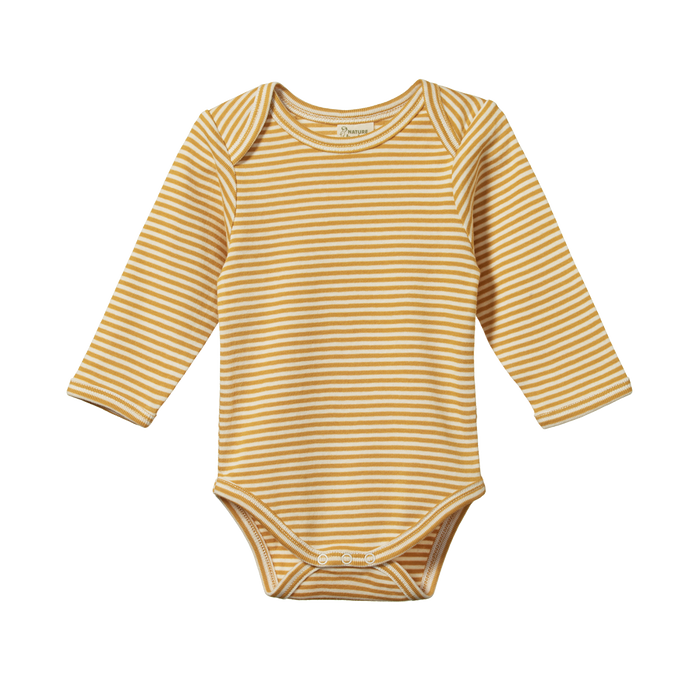 NATURE BABY LONG SLEEVED BODYSUIT HONEY STRIPE