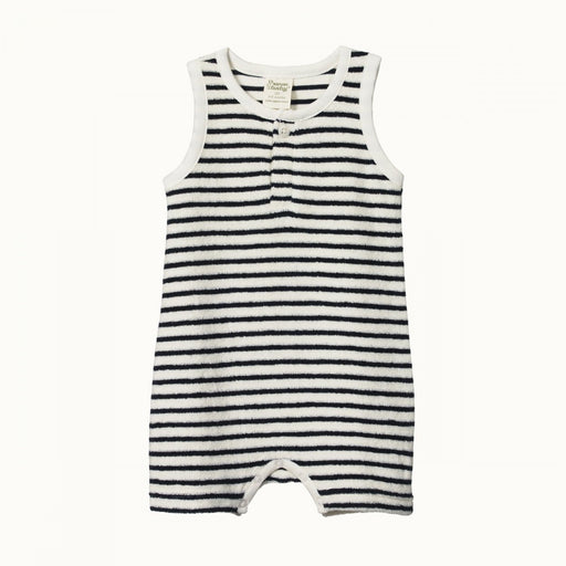 NATURE BABY TERRY HENLEY SINGLET SUIT - NAVY SAILOR STRIPE