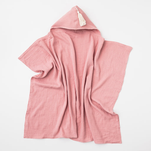 OVER THE DANDELIONS ORGANIC COTTON HOODED TOWEL WITH TASSEL - SHELL PINK