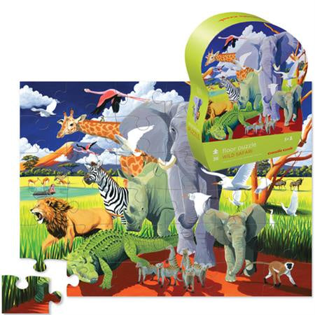 CROCODILE CREEK WILD SAFARI FLOOR PUZZLE - 36 PC