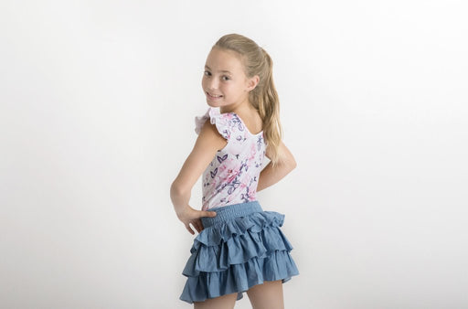 LITTLE HEARTS LUXE FRILL LEOTARD - BLUSH ROSE