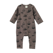 NATURE BABY LONG SLEEVE ROMPER - VOYAGE TRUFFLE