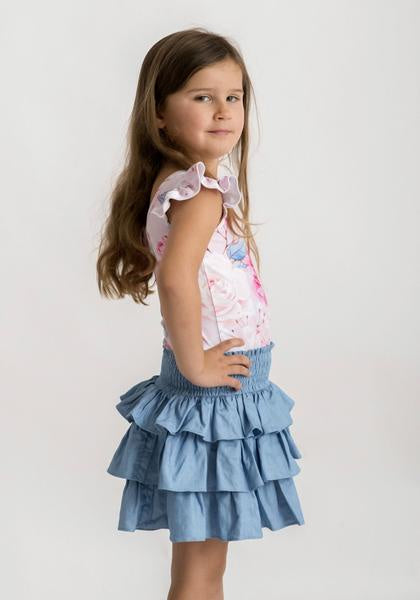 LITTLE HEARTS TIERED SKIRT - CHAMBRAY