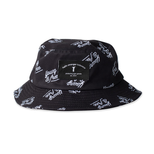 HELLO STRANGER BUCKET HAT BLACK YOUNG AND FREE