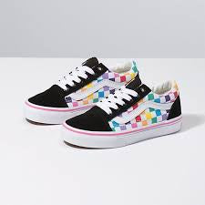 VANS KIDS OLD SKOOL CHECKERBOARD RAINBOW MULTI