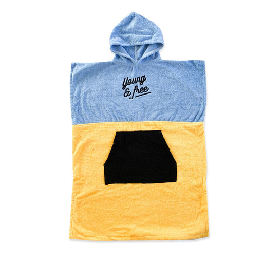 HELLO STRANGER PONCHO TOWEL BLUE YELLOW SM