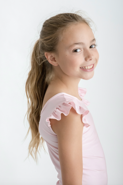 LITTLE HEARTS LUXE FRILL LEOTARD - BLUSH (PRE-ORDER)