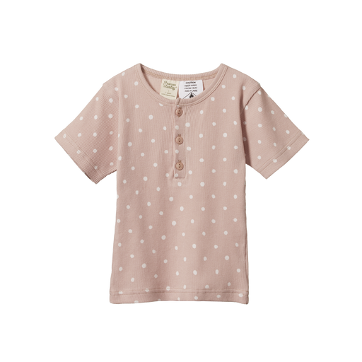NATURE BABY 2 PIECE SHORT SLEEVE RIB PYJAMAS - DOTTIE ROSE PRINT