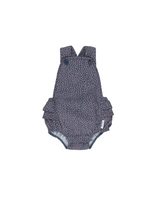 HUXBABY DITZY ANIMAL FRILL PLAYSUIT DARK BLUE