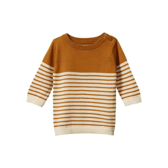 NATURE BABY LIGHT COTTON KNIT JUMPER HARVEST SAILOR STRIPE