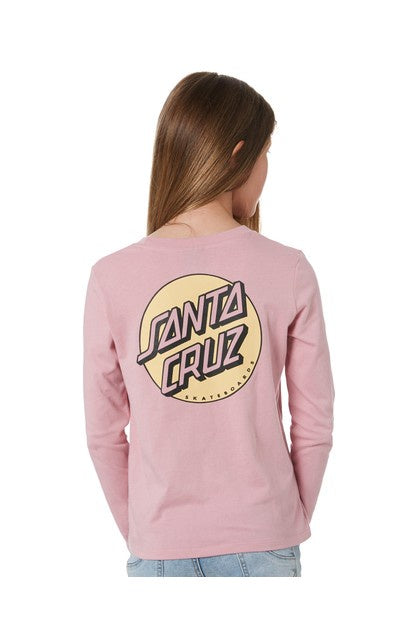 SANTA CRUZ YOUTH OTHER DOT LS TEE - MUSK PINK