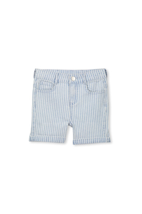 MILKY DENIM STRIPE SHORT