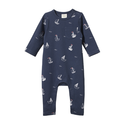 NATURE BABY LONG SLEEVE ROMPER - BOAT POND NIGHT PRINT