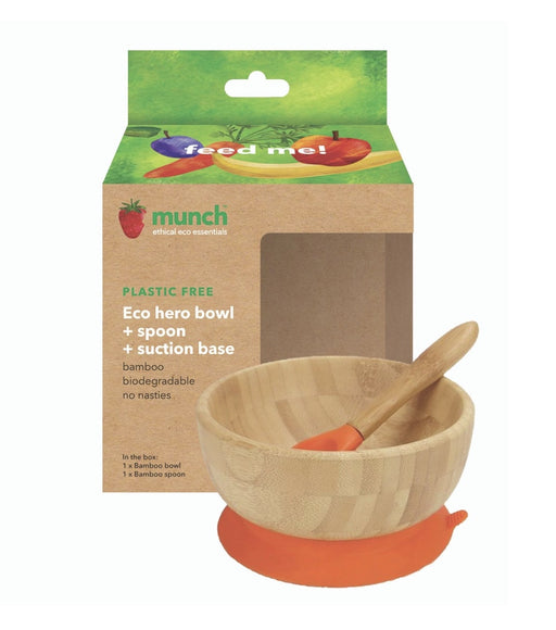 MUNCH ECO HERO BAMBOO SUCTION BASE BOWL  & SPOON