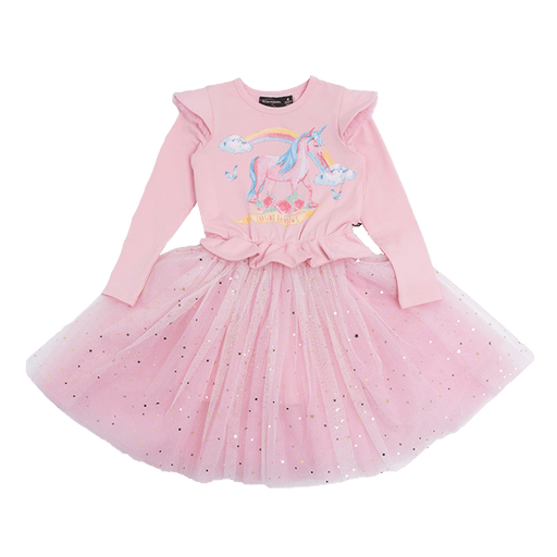 ROCK YOUR KID LONG SLEEVE CHASING RAINBOWS DRESS MID PINK